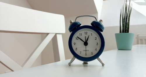 Clock on table